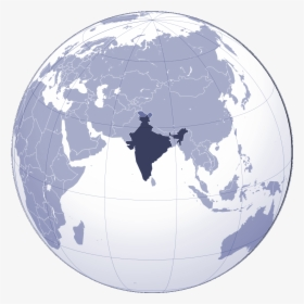 Where Is India Located Large Map - India On Globe Vector, HD Png Download ,  Transparent Png Image - PNGitem