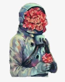 astronaut holds flower