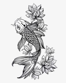 Jk Koi Koi Fish Drawing Black And White Hd Png Download Transparent Png Image Pngitem