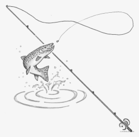 Clip Art Clipart Black White Transparent Background Fishing Rod With Fish Drawing Hd Png Download Transparent Png Image Pngitem